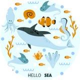 Poster with sea animals hello sea - vector illustration, eps royalty free illustration