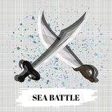 Poster Sea Battle desktop or mobile educational game. Vector Royalty Free Stock Photo