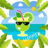 Mojito cocktail and the sea. Poster with sea, palm trees, clouds and Mojito cocktail. Typography. Hello Summer! Vector illustration. Can be used for wallpaper stock illustration