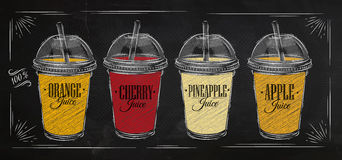 Poster Set Of Juice Chalk Royalty Free Stock Photography