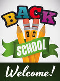 Poster with Set of Pencils for Back to School Season, Vector Illustration Stock Photography