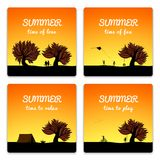 Poster set summer landscape style Stock Photos