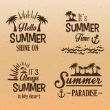 Poster set summer paradise-hello-always in my heart-summer time Stock Images