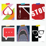 Poster set in various item attractive illustration Stock Image