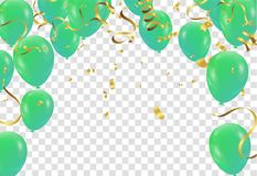 Poster with Shiny Green Balloons on White Background with Square. Frame Stock Photos