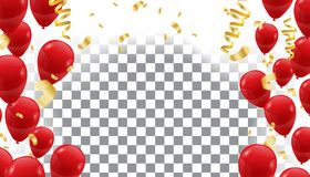 Poster with Shiny Red Balloons on  translucent background with. Vector illustration Stock Photos