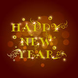 Poster with shiny text for Happy New Year 2015 celebration. Happy New Year 2015 celebrations poster, banner or flyer with golden text on shiny brown background Stock Photos