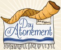 Shofar Horn, Scroll and Tallit for Jewish Day of Atonement, Vector Illustration Royalty Free Stock Photo