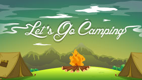 A poster showing a campsite. With a campfire Stock Photo