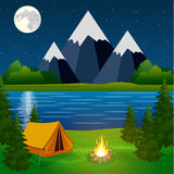 Poster showing campsite with a campfire Stock Photos