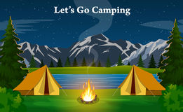 Poster showing campsite with a campfire Royalty Free Stock Photos