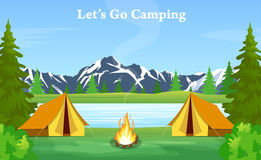 Poster showing campsite with a campfire royalty free illustration