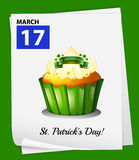 A poster showing March 17. On a green background vector illustration
