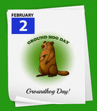 A poster showing the 2nd of February. On a green background Royalty Free Stock Photography