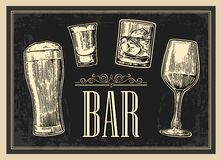 Poster or signboard BAR. Set glass beer, whiskey, wine, tequila.  Stock Images