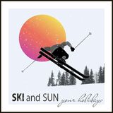 Poster. Skier flying against the evening sun Royalty Free Stock Images