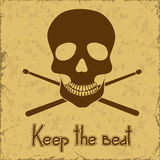 Poster with skull and drumsticks Stock Images