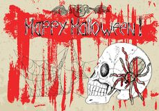 Poster with skull and spiders on bloody background Stock Image