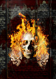 Poster skulls in fire 2. Poster for any adventure music concerte. Photomanipulation Stock Images