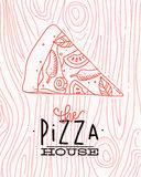 Poster slice pizza wood Stock Images