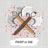 A poster with the slogan fight or die with weapons and drops of blood. Vector. Illustration Royalty Free Stock Photos