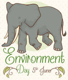Poster with Smiling Elephant for Environment Day, Vector Illustration Stock Images