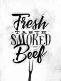 Poster smoked beef. Poster lettering fresh taste smoked beef drawing in vintage style on dirty paper background Stock Photography