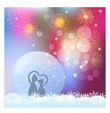 Christmas snow globe with fireworks and snowflakes. Poster with snow globe and firework. Christmas snow globe with cat love vector illustration