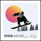 Poster. snowboarder flying against the evening sun Royalty Free Stock Image