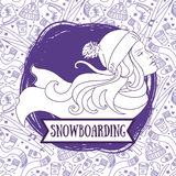 Poster for snowboarding with woman`s profile Royalty Free Stock Photo