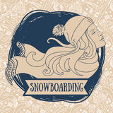 Poster for snowboarding with woman`s profile Royalty Free Stock Photography