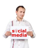 Poster with social media Stock Photography