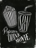 Poster soda popcorn chalk Royalty Free Stock Image