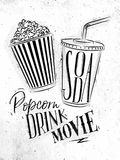 Poster soda popcorn. Poster cinema snacks lettering popcorn, drink, movie in vintage style drawing dirty paper background Royalty Free Stock Photo