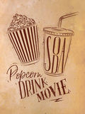 Poster soda popcorn craft. Poster cinema snacks lettering popcorn, drink, movie in retro style drawing with craft Royalty Free Stock Photo