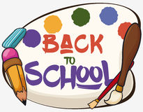 Poster with some Art Class Equipment for Back to School, Vector Illustration Stock Photography