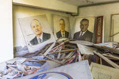 Poster of Soviet politicians in Palace of Culture in Pripyat. The city of Pripyat is abandoned since the crash of Chernobyl Nuclear Power Plant in 1986 Royalty Free Stock Images
