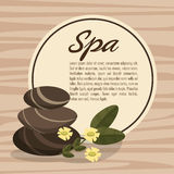 Poster spa hot stone massage relax with flower wood bakcground Stock Photos