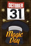 Hat and Floating Calendar for Magic Commemorative Day in October, Vector Illustration. Poster for spectacular magic show at night with a top hat, floating Stock Photo