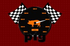 A poster with a speedometer, a pig and racing flags by 2019. Illustration and isolate with the image of a speedometer and a pig in it, sport flags by 2019 vector illustration