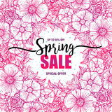 Poster Spring sales on a round wreath background. Card, label, flyer, typography poster, banner design element. Vector. Poster Spring sales on a round wreath Stock Illustration