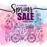Poster Spring sales, set of black icons and symbols with bike on a watercolor background, flyer templates with lettering. Typography poster, card, banner Royalty Free Illustration
