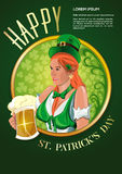 Poster for St. Patricks Day. Cute Irish girl with a beer glass Royalty Free Stock Image