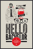 Poster for stag party Hello Bachelor! Royalty Free Stock Photos