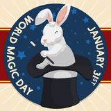 Rabbit with Wand over the Hat in World Magic Day, Vector Illustration. Poster with starry round button  over ribbon and a rabbit like a magician holding a wand Stock Photography