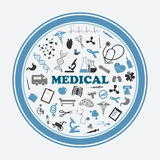 Poster and sticker with medical signs,symbols and equipments. Rounded frame with medical signs, symbols equipments, human cells, heart beat and DNA on white Stock Image