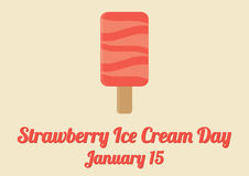 Poster for Strawberry Ice Cream Day (January 15) Royalty Free Stock Images