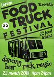 Poster for street festival of fast food with wagon on green background.  Royalty Free Stock Images