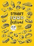 Poster for street food festival royalty free illustration