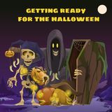 Poster in style of holiday all evil Halloween. Scarecrow in the form of ghosts in the hoodie at midnight by the light of. The moon. Jack-o-lantern with burning stock illustration